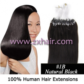 "100S 16"" Micro rings/loop hair remy human hair extensions #1B"