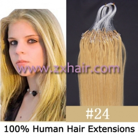 "100S 16"" Micro rings/loop hair remy human hair extensions #24"
