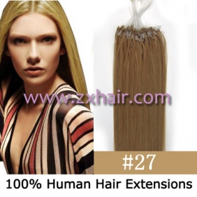 "100S 18"" Micro rings/loop hair remy human hair extensions #27"