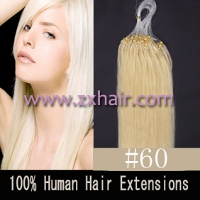 "100S 18"" Micro rings/loop hair remy human hair extensions #60"