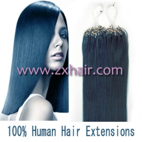 "100S 18"" Micro rings/loop hair remy human hair extensions #blue"
