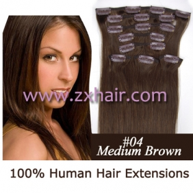 "20"" 8pcs set Clip-in hair remy Human Hair Extensions #04"