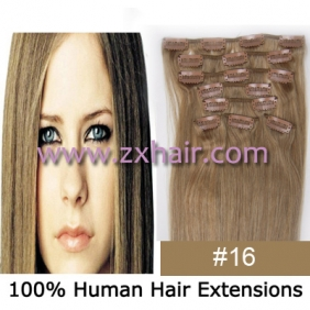 "20"" 8pcs set Clip-in hair remy Human Hair Extensions #16"