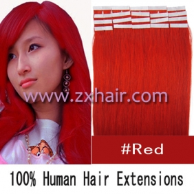 "20"" 50g Tape Human Hair Extensions #red"