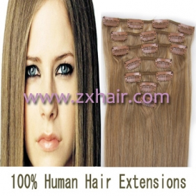 "18"" 7pcs set Clips-in hair 70g remy Human Hair Extensions #16"