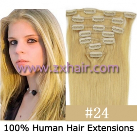 "22"" 7pcs set Clips-in hair 80g remy Human Hair Extensions #24"