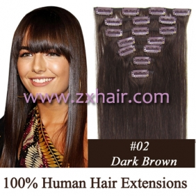 "22"" 7pcs set Clips-in hair 80g remy Human Hair Extensions #02"