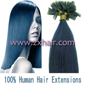 "100S 22"" Nail tip hair remy Human Hair Extensions #blue"