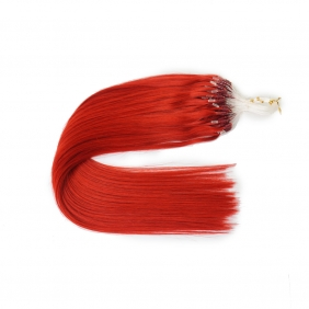 "100S 16"" Micro rings/loop hair 1g/s human hair extensions #red Double Beads"