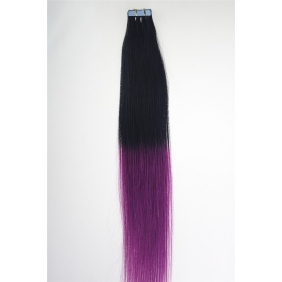 "20"" 50g Tape Human Hair Extensions #01/purple Ombre"