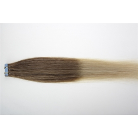 "22"" 60g Tape Human Hair Extensions #12/613 Ombre"
