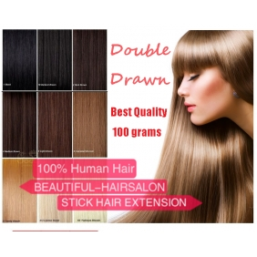 "28 Colors 100S 16""-22"" Stick tip hair 1g/s human hair extensions Double Drawn"